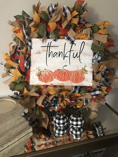 Fall Farmhouse Buffalo Check Wreath with Distressed Pallet Sign Centerpiece
