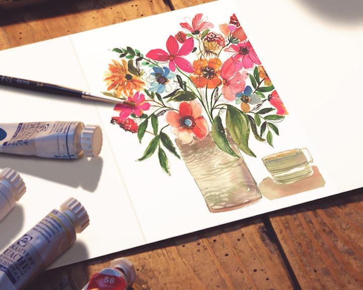 Vase of Flowers Watercolor Workshop