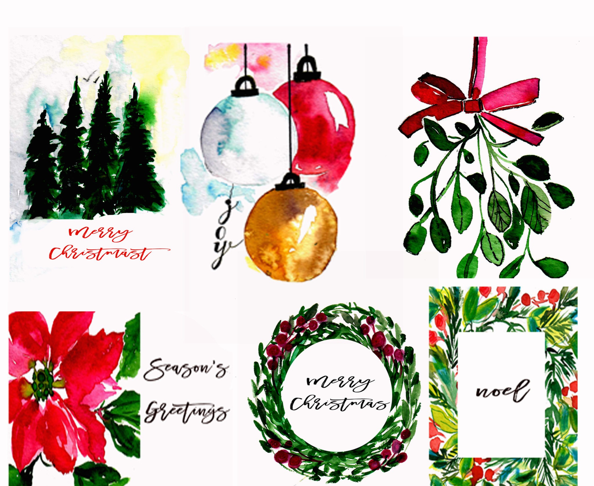Watercolor Holiday Greeting Cards — Set of 5 with envelopes